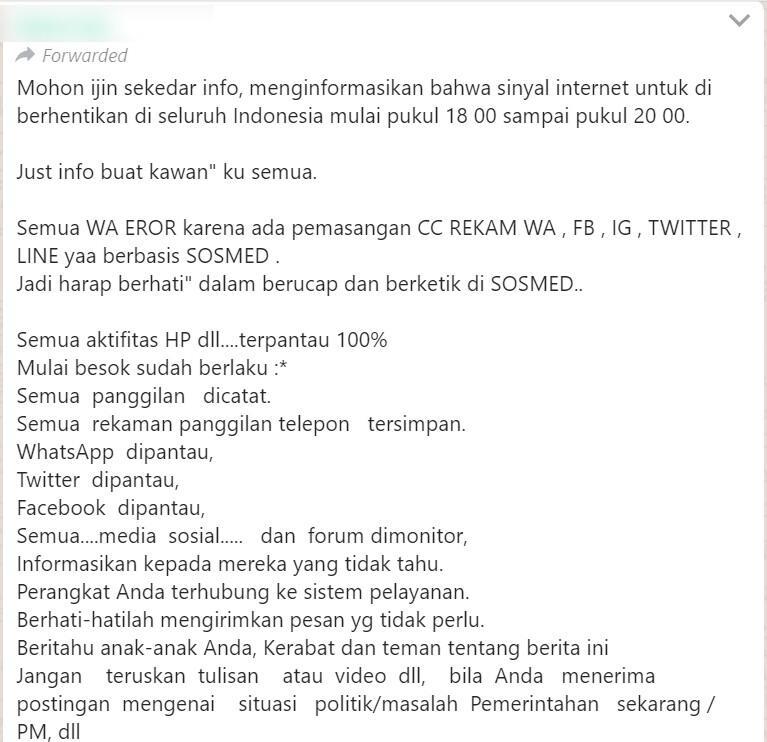 """[SALAH] """"Sinyal Internet Untuk Di Berhentikan Di Seluruh Indonesia"""""""