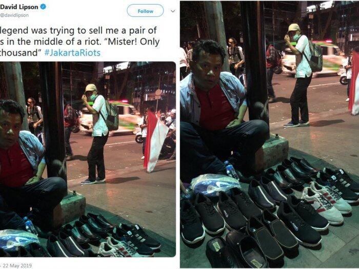 """Duh! Santai Jualan Sepatu Ditengah """"KERICUHAN"""", Jurnalis Australia BINGUNG!"""