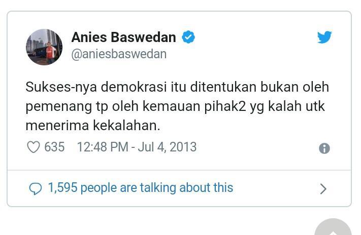 Twit Tahun 2013 Soal 'Pihak yang Kalah' Viral, Ini Kata Anies