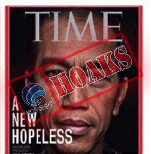 """[HOAKS] Cover Majalah TIME ,Presiden Joko Widodo dengan tulisan """" A New Hopeless"""""""