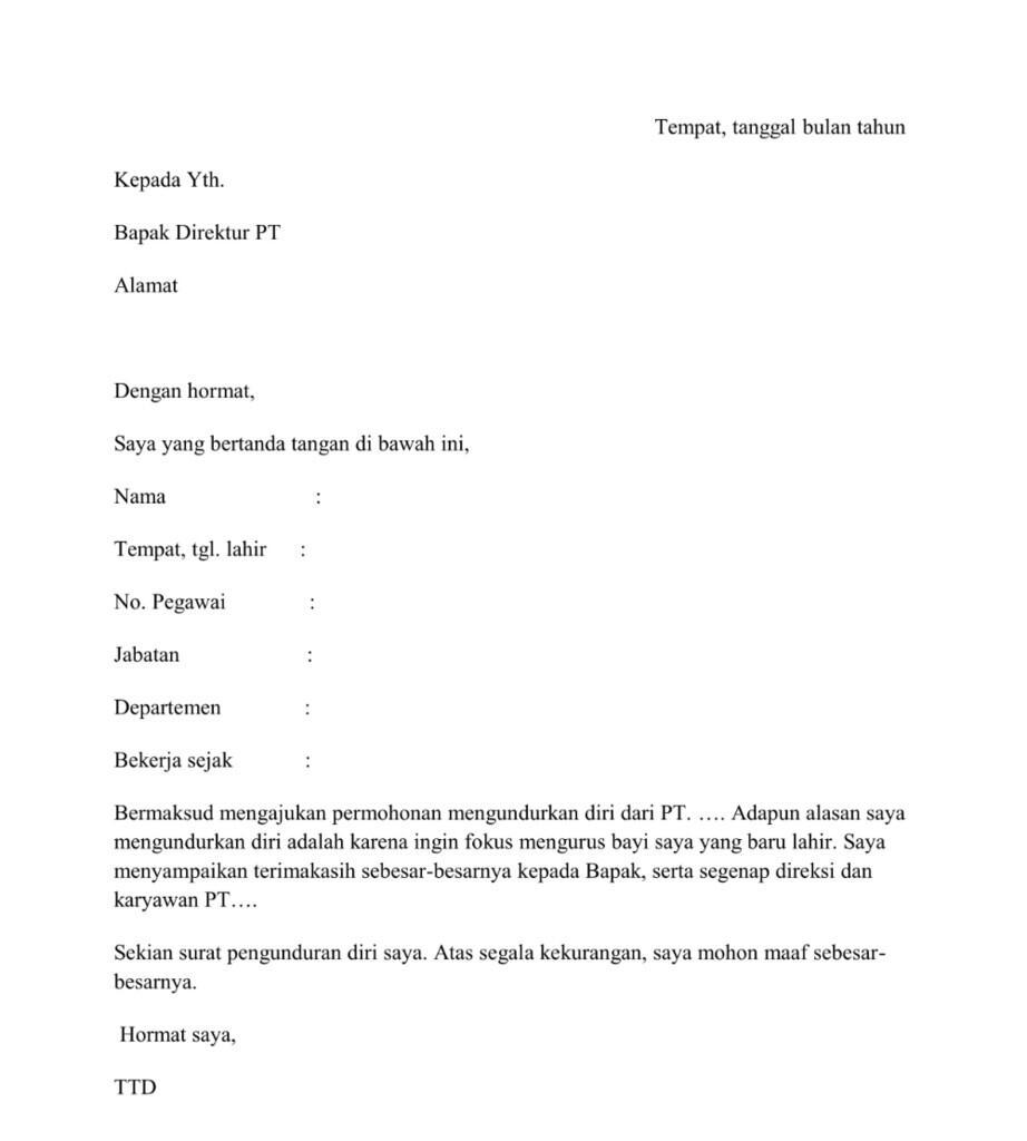 Contoh Surat Pengunduran Diri Yang Baik Dan Benar Kaskus