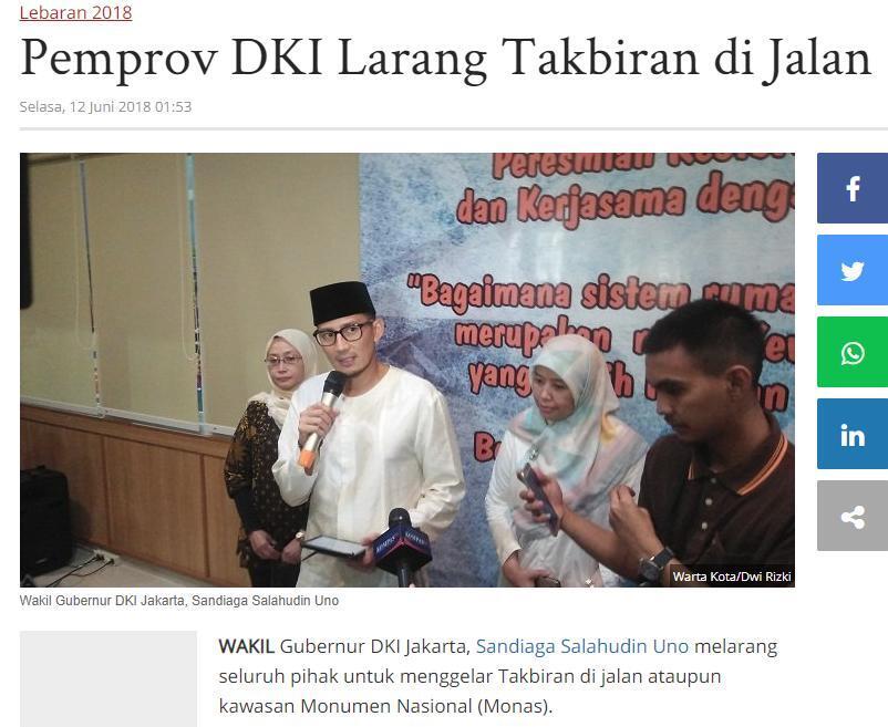 Takbir Keliling, Anies: Warga Jakarta Jadi Tuan Rumah di Tanah Sendiri