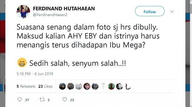 Anak dan Menantu SBY Di-bully, Ferdinand: Sedih Salah, Senyum Salah!