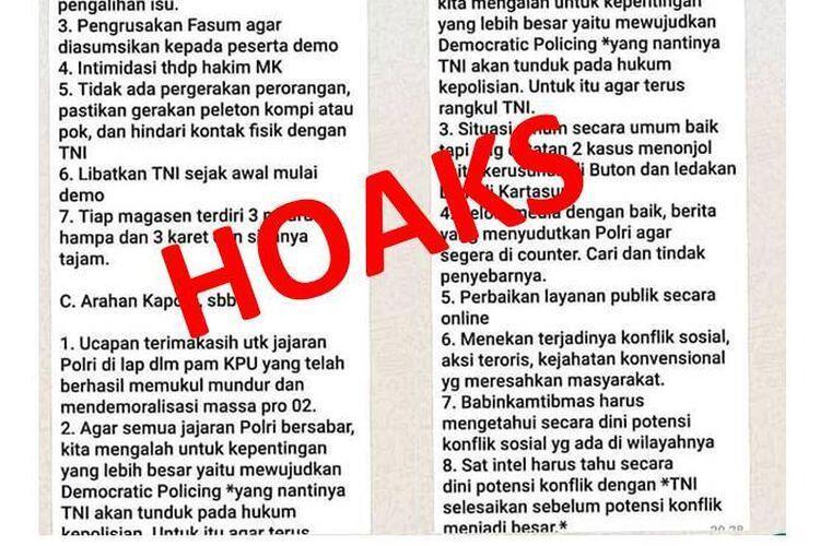 [HOAKS] Kapolri Sebut TNI Akan Tunduk pada Hukum Kepolisian