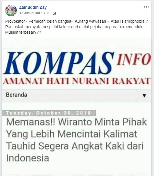 [HOAKS] Wiranto Minta Pihak yang Lebih Mencintai Kalimat Tauhid Keluar dari Indonesia