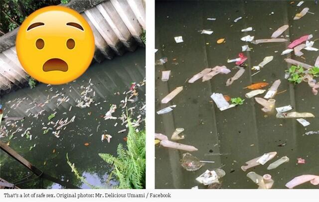 Kalau Sampah Plastik Itu Biasa! Lihat Nih Sungai Penuh Dengan Ratusan Kondom