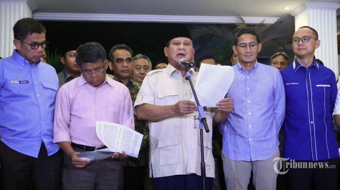 Transkrip Lengkap Pidato Prabowo Usai Putusan MK