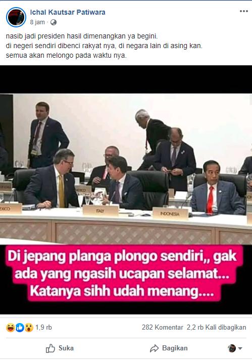 Di Jepang Jokowi Plonga-Plongo Sendiri, Gak Ada yang Kasih Ucapan Selamat