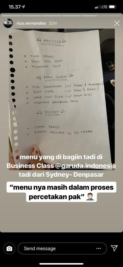 [LAGI VIRAL] Vlogger post Daftar Menu Kelas Bisnis GIA Pakai tulis tangan, Benarkah?