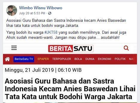Benarkah Anies Baswedan Dikecam Asosiasi Guru Bahasa dan Sastra Indonesia?