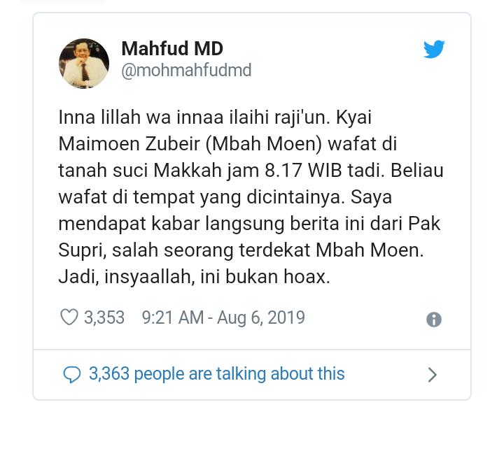Innalillahi, Mbah Moen Meninggal di Makkah