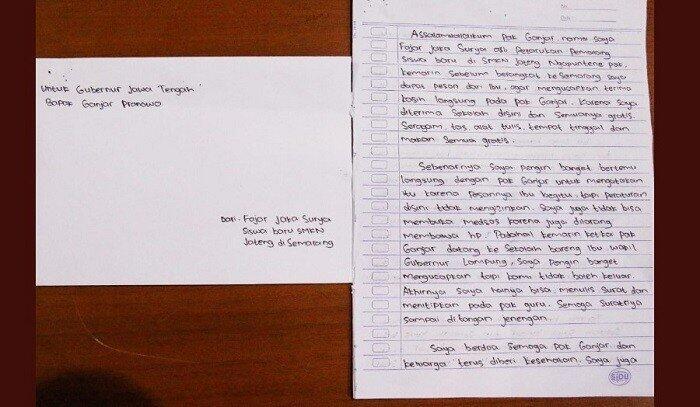 Viral! Seorang Anak Mengirim Surat untuk Gubernur