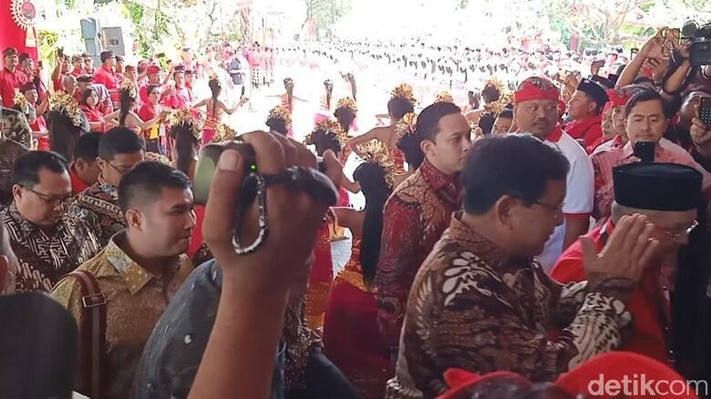 Prabowo Tiba di Kongres V PDIP Bersama Elite Gerindra