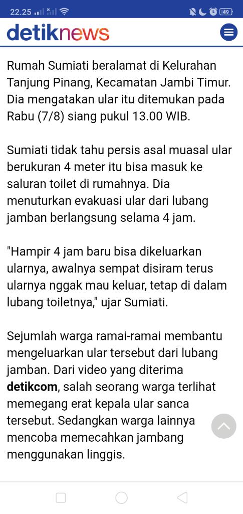 Serem Gan! Ular Bertamu ke Rumah Netizen Lewat Toilet
