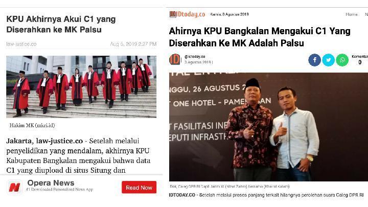 Benarkah KPU Bangkalan Mengakui Data C1 yang Diserahkan ke MK Adalah Palsu?