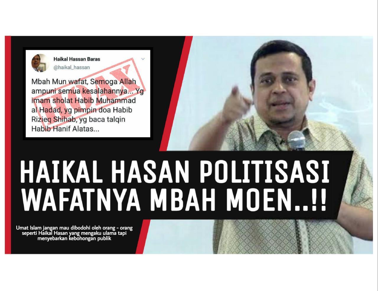 Politisasi KH. Maimoen Zubair, Haikal Hassan Sebarkan Informasi Hoaks di Media Sosial