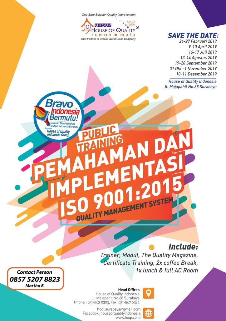 PUBLIC TRAINING PEMAHAMAN DAN IMPLEMENTASI ISO 9001:2015