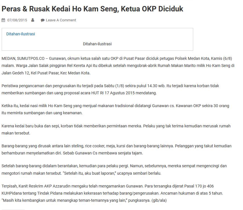 Dua kelompok OKP di Medan bentrok