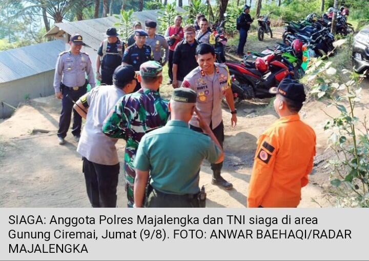 Polisi dan TNI Siaga di Gunung Ciremai