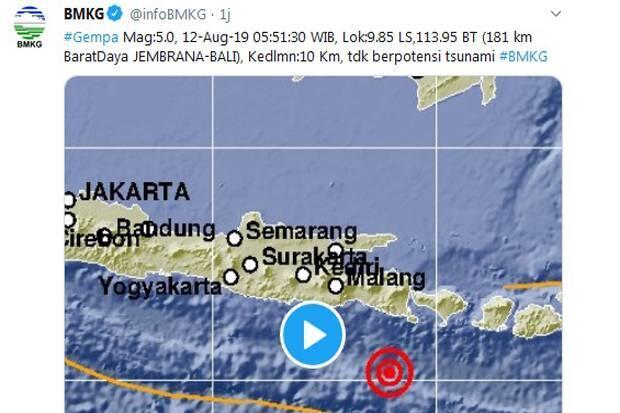 BMKG: Gempa 5,0 SR di Bali Tak Berpotensi Tsunami