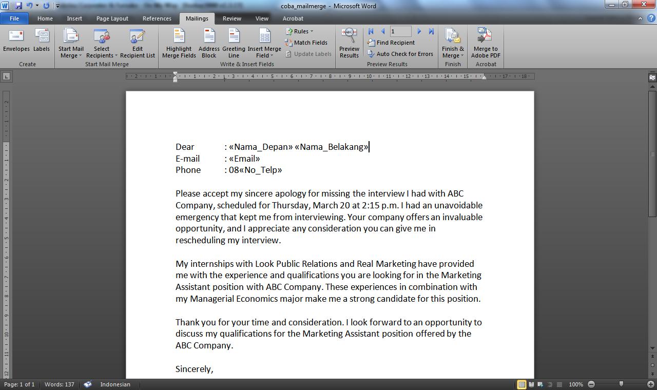 Cara Membuat Surat Massal Dengan Fitur Mail Merge Pada Microsoft Word