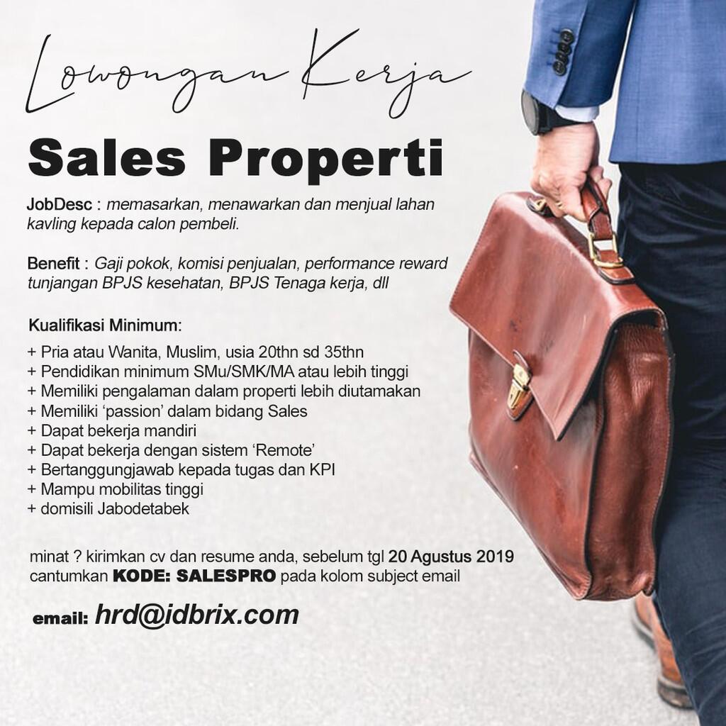 [JABODETABEK] Sales Properti - FullTime/PartTime available