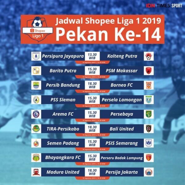 Jadwal Lengkap Pekan ke-14 Shopee Liga 1 2019