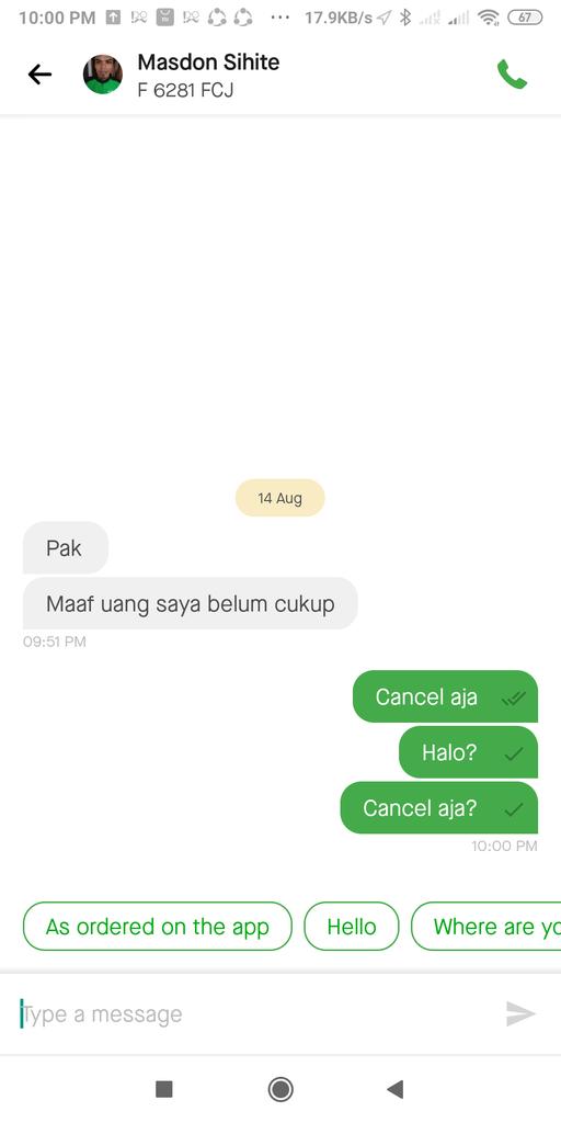 Gojek driver tidak cukup uang tapi tidak mau cancel