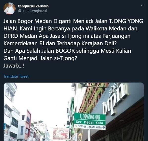 Protes Jalan Bogor Diganti Tjong Yong Hian, Tengku Zul Dirisak Warganet