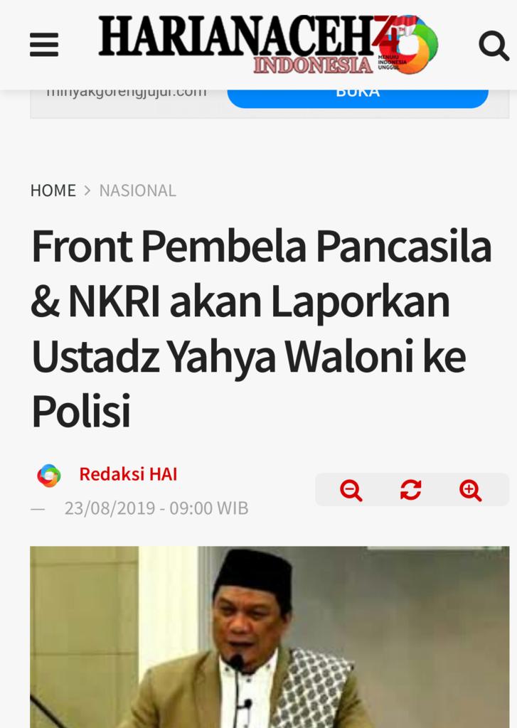 Front Pembela Pancasila & NKRI akan Laporkan Ustadz Yahya Waloni ke Polisi