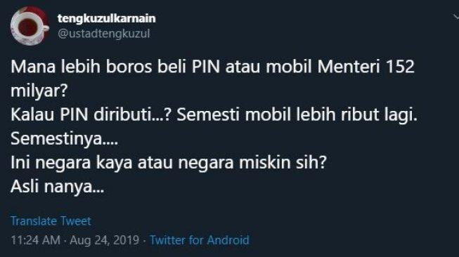 Cuitan 'Ngegas' Tengku Zul, Sindir Mobil Menteri, Bela Pin Emas