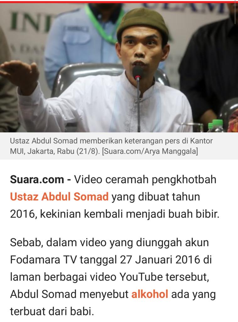 CEK FAKTA: Ustaz Abdul Somad Klaim Alkohol Parfum Terbuat dari Babi, Yakin?