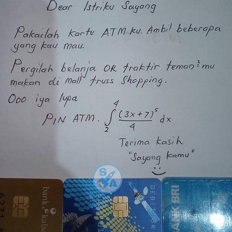 Viral,Kisah Suami Beri ATM Ke Istri Untuk Having Fun Dengan PIN Soal Matematika Rumit