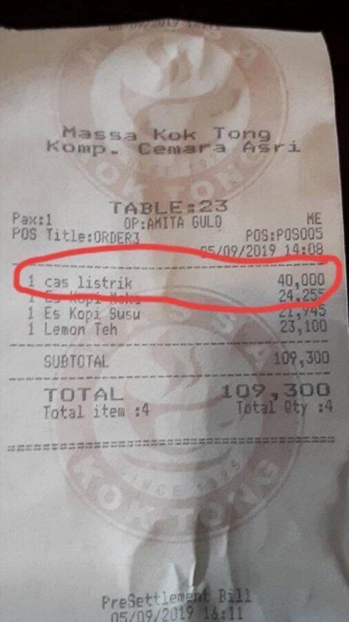 Viral,Restoran ini tarik biaya ngecas Rp.40.000 ke pelanggannya