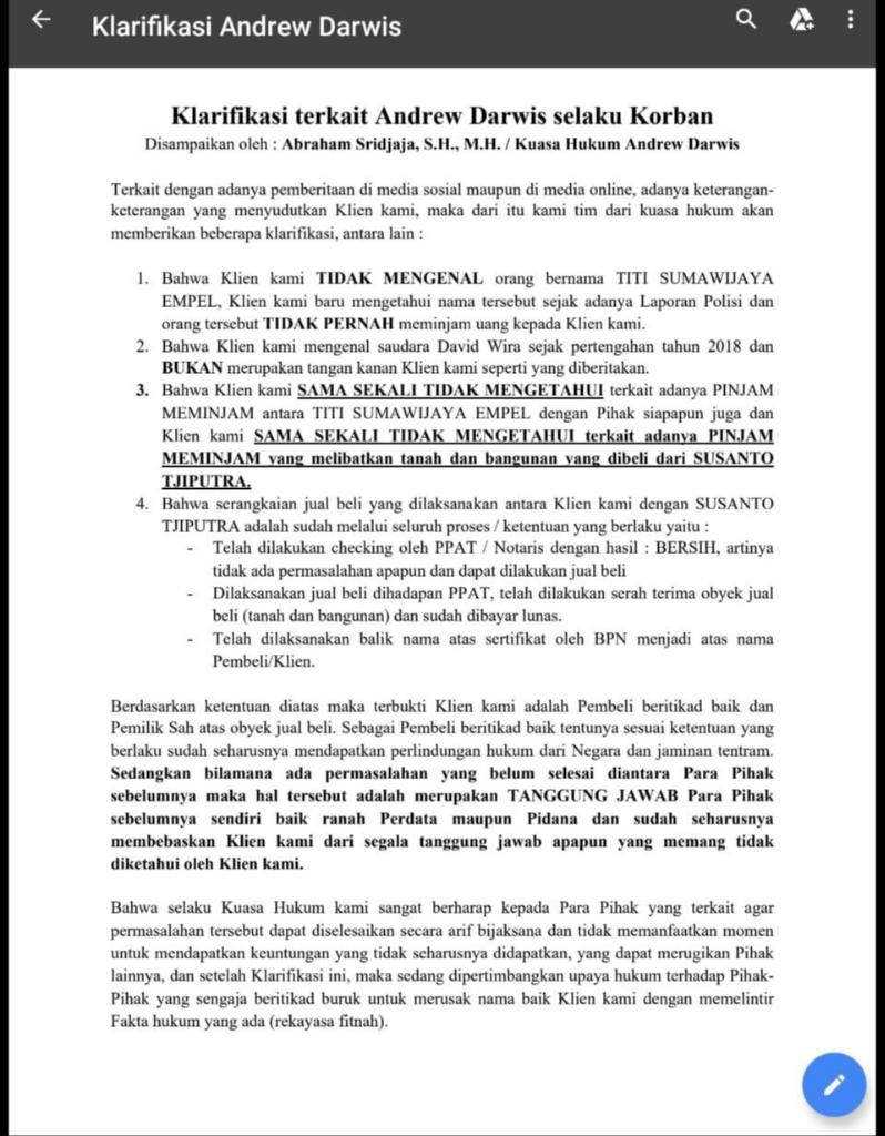 Viral Pendiri Kaskus Andrew Darwis Terkena Kasus Penipuan !! Fakta Atau Hoax ?