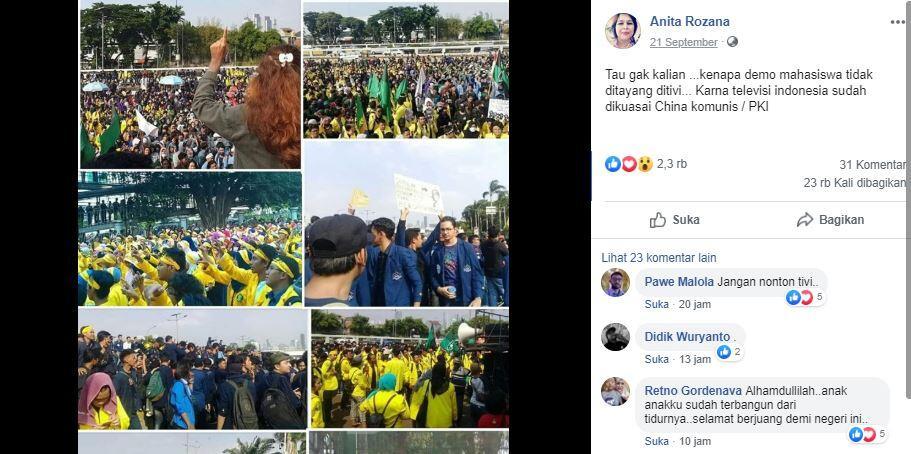 Benarkah Demo Mahasiswa Tidak Disiarkan TV Indonesia Karena Dikuasai Cina dan PKI?