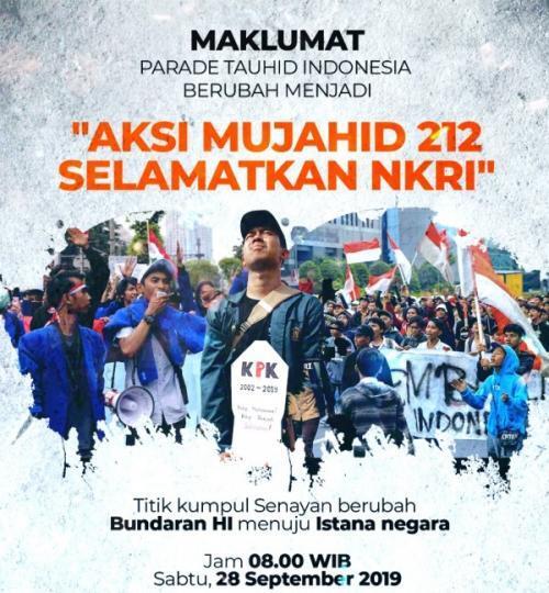 Massa Mujahid 212 Gelar Aksi 'Selamatkan NKRI' di Jakarta Besok