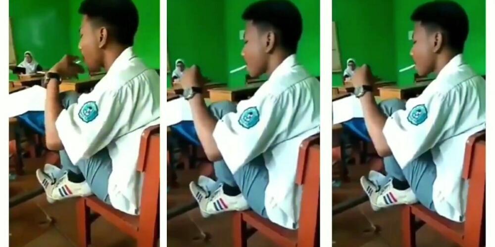 Miris, Pelajar SMA Ini Dengan Santuy Merokok Di Depan Guru Sembari Mengangkat Kaki