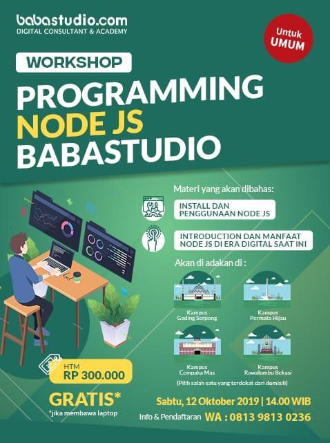 <b></b>Workshop Node Js Baba Studio GRATIS
