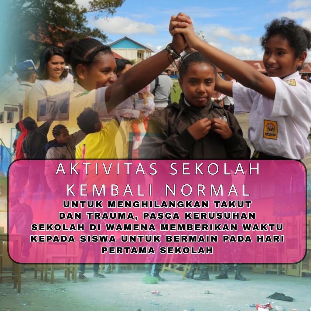 Wamena Mulai Kondusif, Aktivitas Sekolah Sudah Berjalan Normal