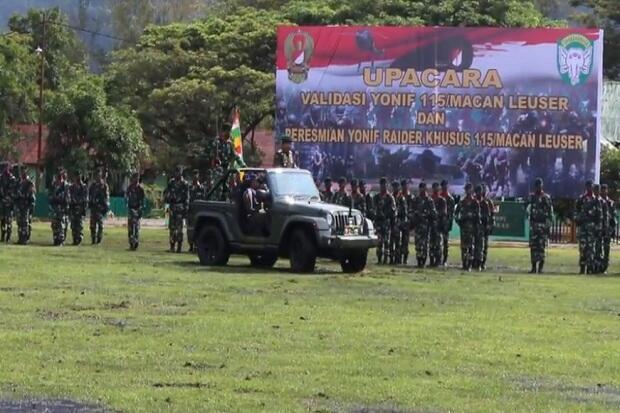 Siap Tangkal Ancaman di Aceh, Yonif Raider Khusus 115/Macan Leuser Diresmikan