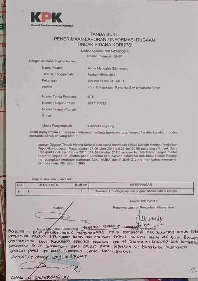 KPK Diultimatum Tindaklanjuti Laporan Dugaan Korupsi Anies Baswedan