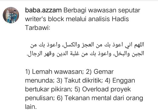 Writer's Block Dari Kacamata Hadist
