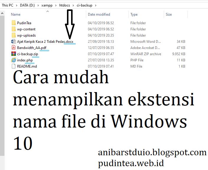 Cara mudah menampilkan ekstensions nama file Windows 10 | Anibar Studio