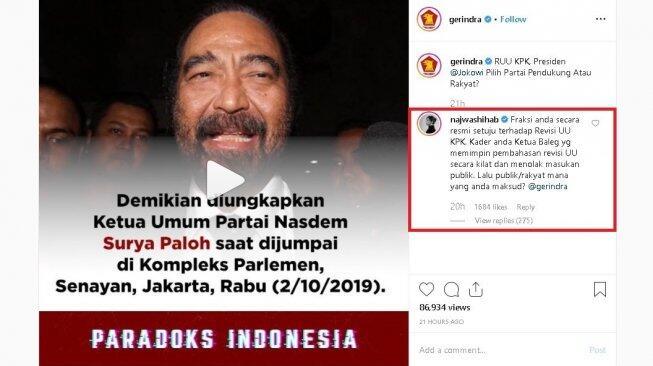 Najwa Shihab Perang Komentar Dengan Admin Gerindra di Instagram