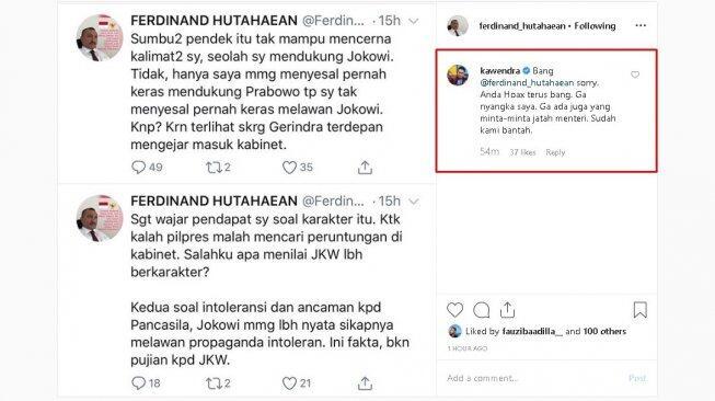 Ferdinand Sebut Menyesal Dukung Prabowo, Jubir Partai Gerindra Tanggapi Keras