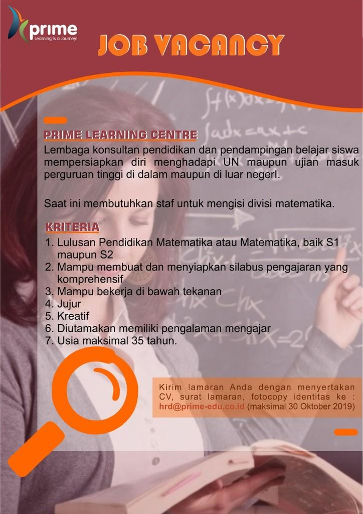 [Yogyakarta] Prime Learning Center - Staff Matematika