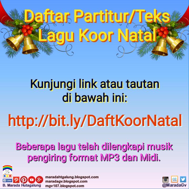 Daftar Partitur/Teks Lagu Koor Natal