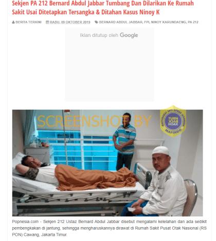 [SALAH] Foto Bernard Abdul Jabbar Dirawat di RS Usai Ditetapkan Tersangka kasus Ninoy