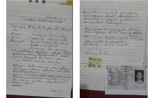 Ninoy Karundeng Akui Membuat Surat Pernyataan di Masjid Al Falaah